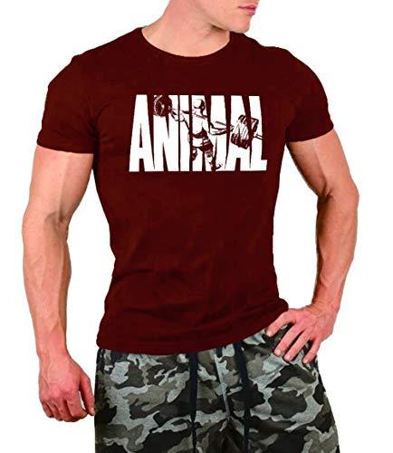 FengCheng T-shirt de fitness à manches courtes pour homme - Motif animal - 95 % coton, 5 % élasthanne M rouge foncé