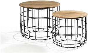 LIFA LIVING Tavolino da Salotto Moderno in Set da 2 | Tavolini da caffè | Tavolini Bassi Rotondi | per Soggiorno, Cucina | Piani Rimovibili Funzione Cestino | capacità Fino a 20 kg