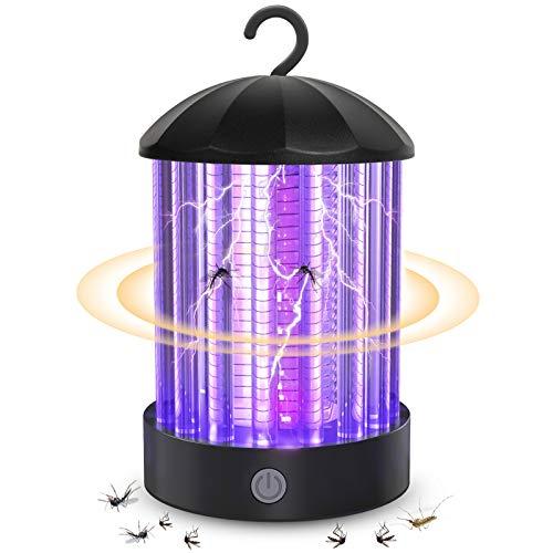 QcoQce Zanzariera Elettrica USB Ricaricabile, IP66 Impermeabile UV Lampada antizanzare, 3W Trappola Zanzare con USB Ricaricabile, 3 Luminosità di LED Luce per Casa Ufficio Patio Cucina (BK006-A)