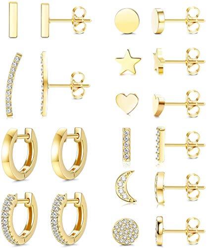Yadoca 10 Pairs Stud Earrings for Women Men Cute Star Moon Heart Bar Ear Studs Dainty CZ Minimalist Cuff Earrings Hoop Huggie Stainless Steel Stud Earring Set Silver/Rose Gold/Gold