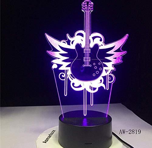 Gitaar vliegen bas rok muziek 3D LED lamp nachtlampje voor muzikanten Home tafeldecoratie verjaardag kerstcadeau cadeau