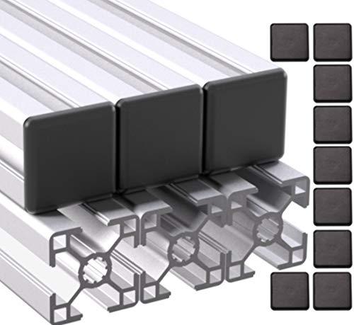 Ulber24- Aluprofil 30x30 Nut8 Typ-B,6x2m=12m +12x Abdeckkappen Aluminium Konstruktion- Montage- System- 3030 Alu Schiene Stecksystem Vierkant Profil B-Typ Nut 8
