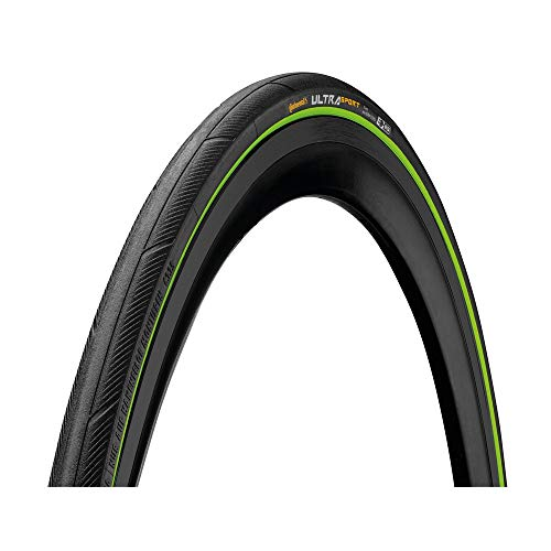 Continental Cubierta Carretera Ultra Sport III Negro-Verde-Medidas: 700 x 25 Neumáticos para Bicicleta, Adultos Unisex, Talla Única