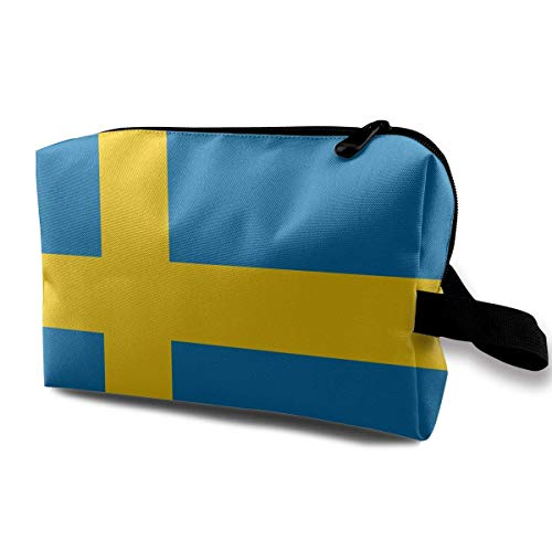 Schweden-Flaggen-blaues gelbes Muster-kleine kosmetische Beutel-Reise-Make-upbeutel-moderner Organisator