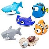 MOOKLIN 6pcs Giocattoli da Bagnetto per Bambini, Pupazzetti per Il Bagno, Galleggianti Che Spruzzano, a Tema Animale da Oceano, Grande Regalo per i Bambini, Tartaruga, Squalo Balena, Pesci