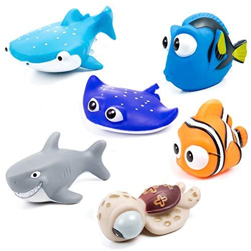 MOOKLIN - 6 Stück Kinder Badespielzeug Geschenk Tiere Schwimmender Tauchpartner, Ozean Badewannenspielzeug Sandspielzeug für Baby Jungen oder Mädchen, Badewanne und Schwimmbad