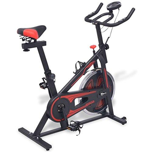 vidaXL Bicicleta de Spinning con Sensores de Pulso Negra y Roja 97x46x108 cm