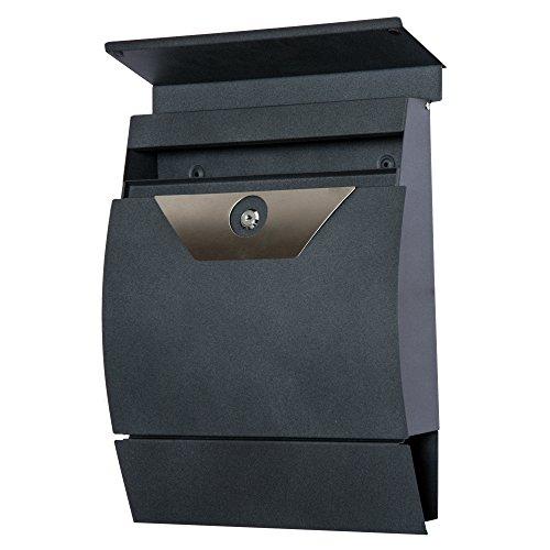HOMCOM Briefkasten Postkasten Wandbriefkasten mit Zeitungsfach abschließbar 2 Schlüssel Stahl Grau 35 x 9,5 x 44,5cm