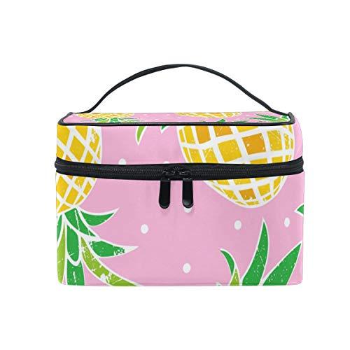 Le stockage cosmétique de points d'ananas mignons de sac cosmétique de maquillage met en boîte le stockage portatif avec la tirette