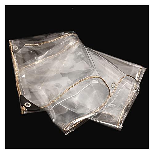 YJFENG Cortina De Lona Impermeable De PVC De 0,3 Mm, Lona Transparente para Panel Lateral De Tienda, Cortavientos A Prueba De Polvo, para Garaje, Pérgola, Borde Dorado (Color : Claro, Size : 2X3M)