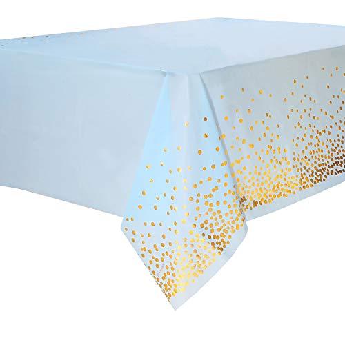 Mantel Desecheble Fiesta Oro Azul Mantel Plástico Rectangular Dorado Cubierta de Mesa para Banquetes, Baby Shower, Cumpleaños de Niños, Tertulia,137 cm x 274 cm,4PCS