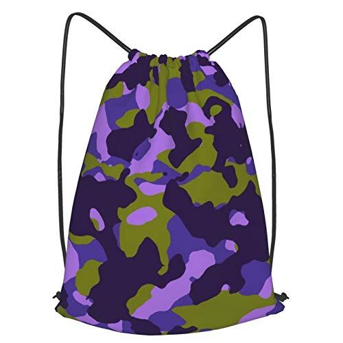 Yesliy - Mochila de hombro con cordón, diseño de camuflaje, color morado oliva, bolsa de gimnasio, mochila con cordón para viajes, escuela, deporte, almacenamiento en el hogar