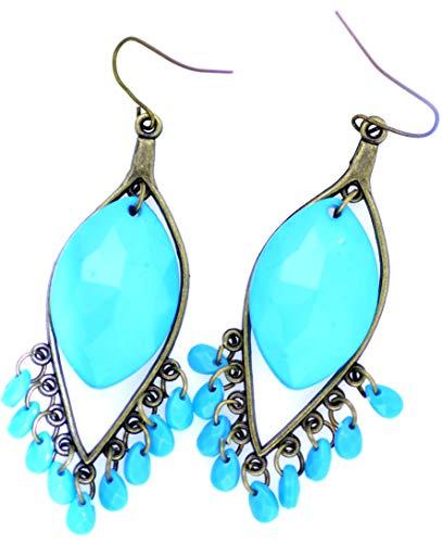 Lizzyoftheflowers - BOHO stijl blauw acryl drop kroonluchter oorbellen