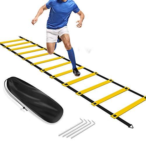 FBSPORT Escalera Entrenamiento para Velocidad, 6 Metros 12 Escalones Escalera de Agilidad, Fútbol Coordinacion para NiñOs Adultos, con Bolsa