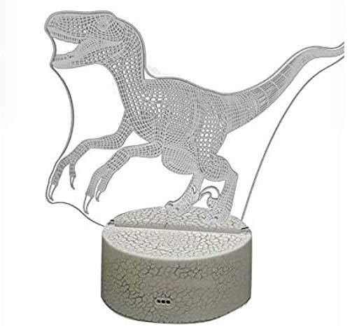 Liyaya Lámpara LED 3D iluminada de dinosaurios para niños, lámpara de noche óptica, lámpara de escritorio, luz nocturna con mando a distancia, decoración del hogar, vacaciones