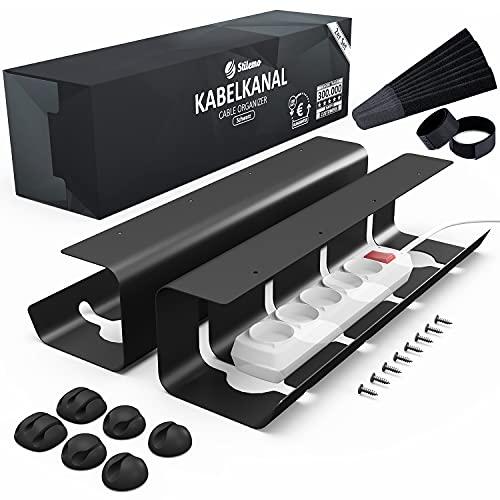 Kabelkanal Schreibtisch TÜV Rheinland geprüft - Kabelmanagement Schreibtisch für Ordnung am Arbeitsplatz - Kabelhalter Kabelwanne Tisch 2er Set - 43 x 12 x 10 cm - Kabelkorb schwarz