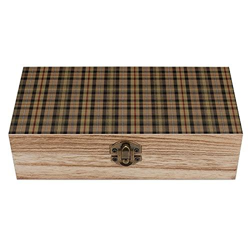Caja decorativa de madera de cuadros de MacKenzie de caza, caja de regalo, caja de té de almacenamiento de 19 x 9 x 5.8 cm