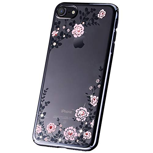 JZWDMD iPhone 7 Funda, iPhone 8 Funda Flor Patrón Rhinestone Swarovski Elements Parachoques Duro con Borde Suave Bumper Case para Apple iPhone 7 Plus/iPhone 8 Plus