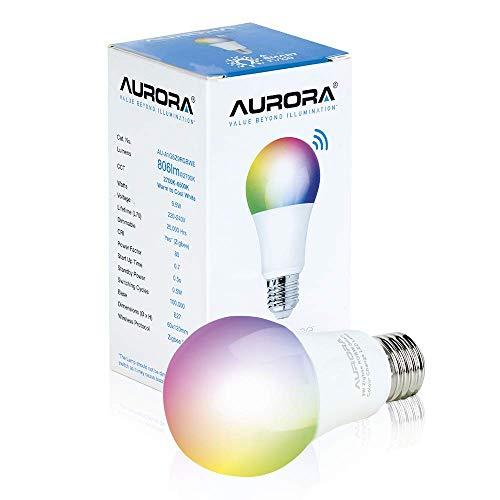 Aurora aua1gsz9rgbwe - Lámpara LED (E27, 9,5 W, 240 D, rgb + cx zigbee, regulable, A60, abi