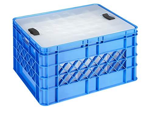 Sunware Square Gläserkiste - 52 Liter - Mit Deckel - für 30 Longdrink-, Wein- oder Sektgläser - Blau