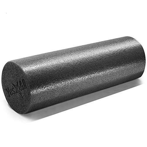 Yes4All Premium USA Medium Density Round PE Foam Roller for Physical Therapy - 18 inch (Black) 9UAZ