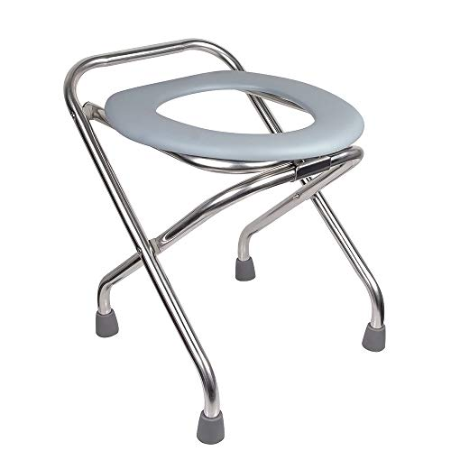 ipekar Folding Commode Portable Toilet, 16.5' Premium Stainless Steel Porta Potty Chair, Perfect for Construction Sites, Fishing, Hiking, Outdoor Living, Parties, Camping