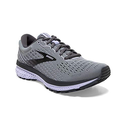 Brooks Womens Ghost 13 Running Shoe - Grey/Blackened Pearl/Purple - B - 10.5