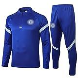 BVNGH Chándal de entrenamiento de camiseta de fútbol Chelsea, de manga larga, para hombre, tejido elástico profesional, suelto y transpirable (S-XXL), color azul