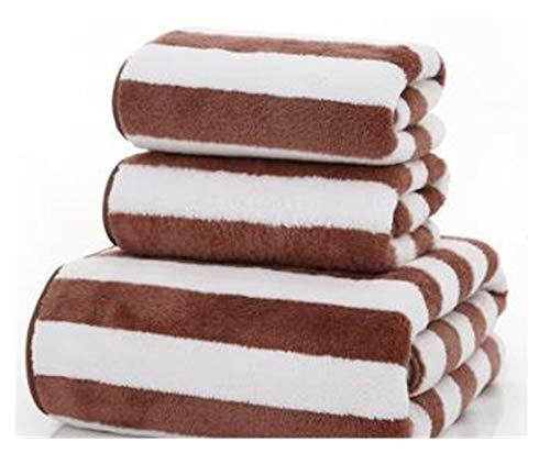 WYFDC Toallas de baño Envío Microfibra Raya Suministros Toalla Hotel For Baño Ducha Facial Toalla Baño Balneario Toalla 3pcs / Set, Toallas De Se (Color : Coffee, Size : 34x74cmx2 140x70cm)
