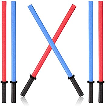 Set of 6 Pool Noodles Foam Light Sabre Toy Swords - Kids Bulk Party Favors - Ideal for Pools Backyard Outdoors Play  29-Inches