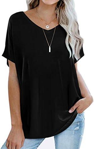 V Neck T Shirts Women Short Sleeve Spring Basic Oversized Tops Loose Fit Black L product image