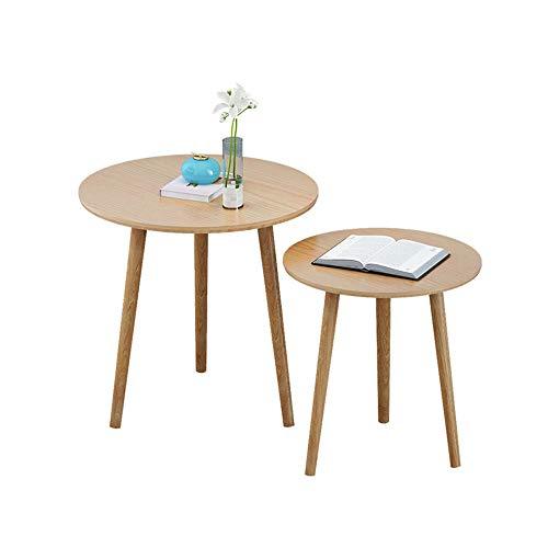 GQIANG サイドテーブル サイドテーブルコーヒーテーブルコンビネーションリビングルームベッドルームソリッドウッド小さなラウンドテーブル (Color : A)