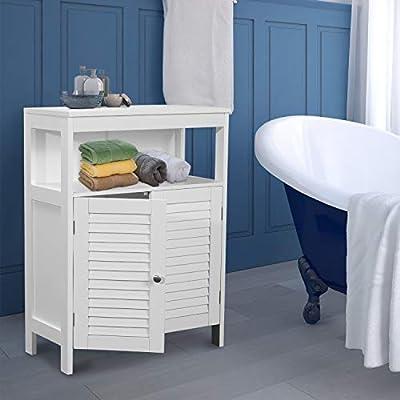 GOOD & GRACIOUS Bathroom Floor Cabinet, Freestanding Towel Cabinet with Double Leaf Door, Bathroom Organizers, Storage and Adjustable Shelf, White