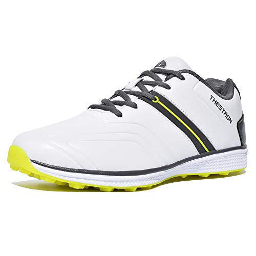 Thestron Men Golf Shoes Spikeless Sport Sneakers Walking Training Shoes … White