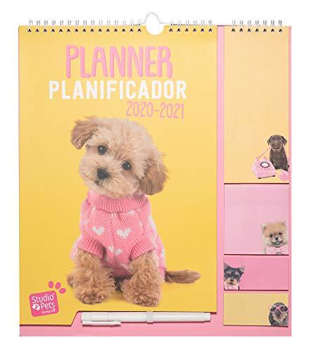 ERIK - Planificador mensual familiar de pared 2020/2021 Studio Pets Dog, 30x34 cm