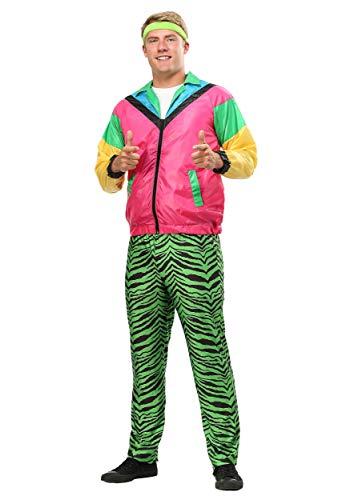 Men's 80s Jock Costume 1980s Neon Tiger Stripe Wind Suit Large