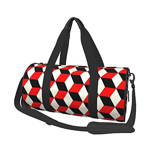 MBNGDDS 3D Rot Kariert Reisetasche Seesack Leicht Faltbar Wasserdicht Weekender Tasche mit Schultergurt Sport Gym Bag für Damen & Herren, siehe abbildung, Einheitsgröße,