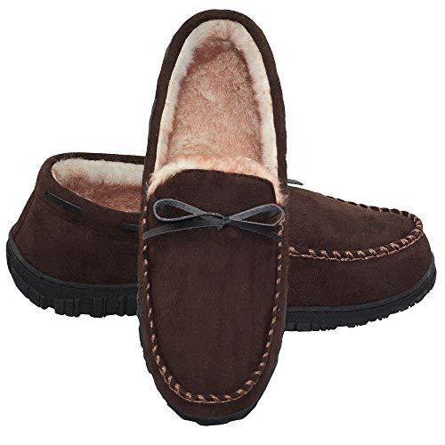 LA PLAGE Mens Indoor/Outdoor Arch Support Moccasin Microsuede Slippers 11 US Dark Brown