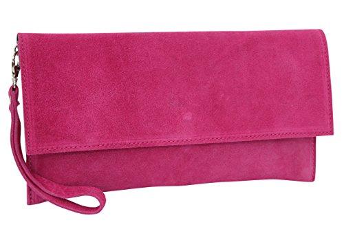 AMBRA Moda WL811, borsa a mano da donna con cinghia da polso, in pelle scamosciata, (Pink), One size