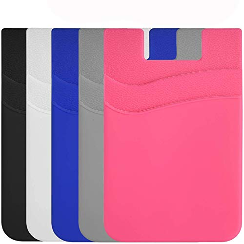 Phone Card Holder,Cell Phone Silicone Wallet Stick-on ID Business Credit Card Pocket for Smartphones (5 Pack, Assorted Colors)