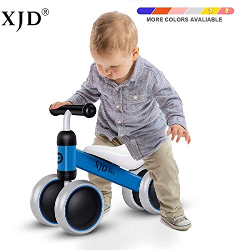 XJD Baby Balance Bikes Bicycle Baby Toys for 1 Year Old Boy Girl 10 Month -24 Months Toddler Bike Infant No Pedal 4 Wheels First Bike or Birthday Gift Children Walker, Blue