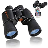 Binoculars, 10x50 Binoculars for Adults, Binoculars for Bird Watching Hunting Concerts Sports with BAK-4 Porro Prism FMC Lens, Waterproof Easy Focus Binoculars with Phone Mount Strap Carrying Bag