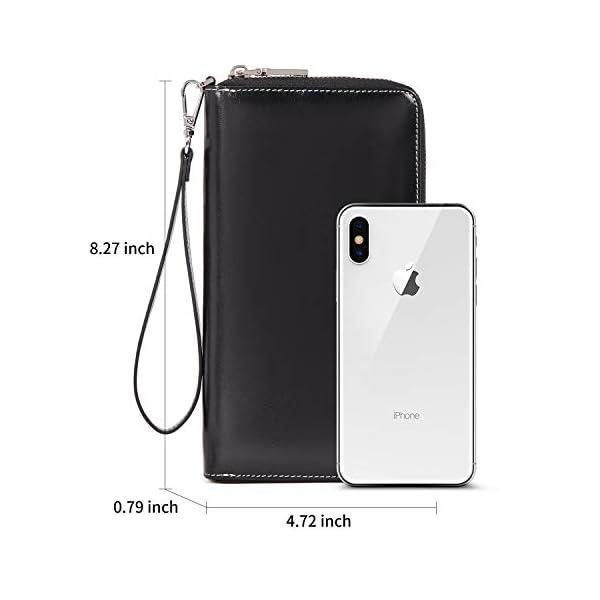 BOSTANTEN Leather Wallets for Women RFID Blocking Zip Around Credit Card Holder Phone Clutch 2