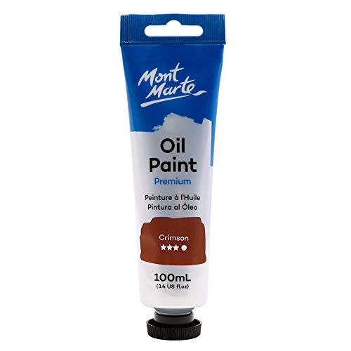 Mont Marte Premium Oil Paint, 100ml (3.4oz), Crimson Red, Good Coverage, Excellent Tinting Strength