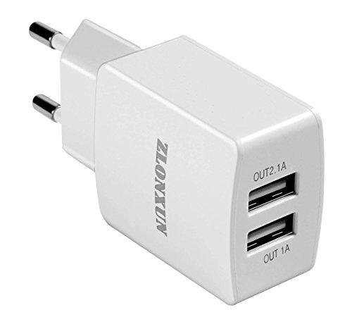 Caricabatterie USB da Muro,2 Porta USB Charger 2.1A per Iphone,HuaWei,Samsung,LG,Nexus,HTC, pišŽ (bianco)