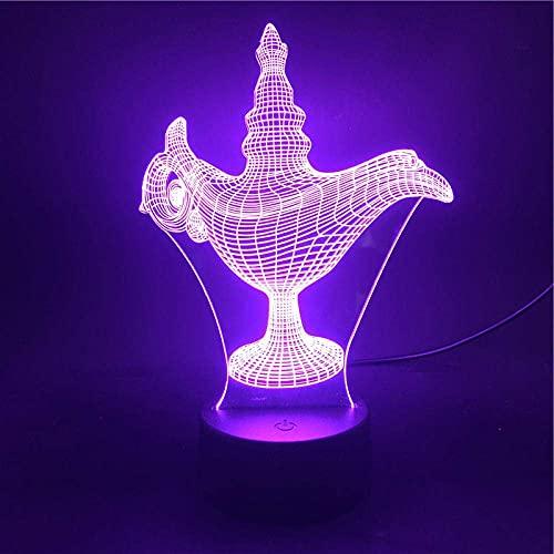 Luz De Ilusión 3D La Luz De Noche Led Convierte El Color En Decoración De Dormitorio Amigos Niños Regalos De Cumpleaños Lámpara De Mesa Aladdin