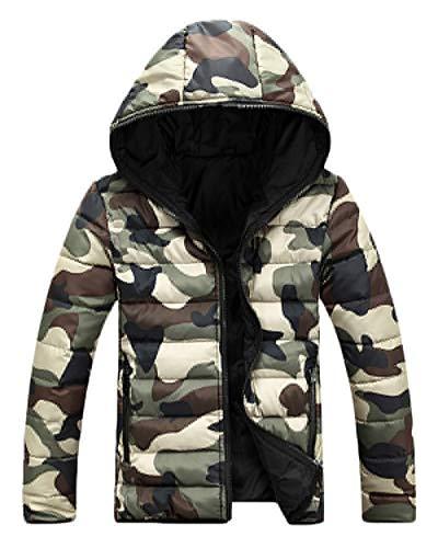 Unisexe Camouflage Doudoune Femme Homme Hiver Blouson à Capuche Épaissir Chaud Manteau Matelassée Veste Vert XXL