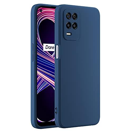 Cresee kompatibel mit Realme 8 5G Hülle Hülle, Silikon Handyhülle mit [Kamera Schutz] [Faser-Innenraum] Anti-Scratch Dünn Schutzhülle Stoßfest Cover, Blau