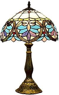 Lámpara De Mesa Barroca Tiffany Francesa Tulip Flores Diseño De Escritorio Retro Vidrio De Vidrio Artesanía Art Deco Dormi...