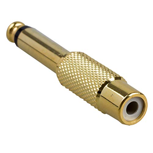 """Ba30DEllylelly 2 Piezas 6,35mm 1/4""""Mono Macho Jack a RCA Hembra Enchufe Adaptador de Audio convertidor de Cable UP Mono Macho a RCA Hembra adaptadores"""
